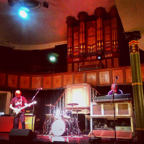 Soundchecking at Huntingdon Hall in Worcester